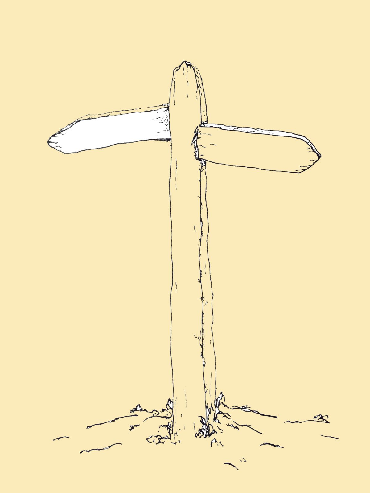 Line drawing of a finger post sign